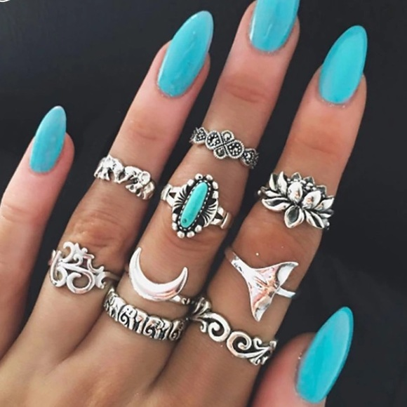 Jewelry - New Silver Turquoise Ring Set